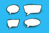 Speech bubbles with halftone shadows in comic style. Circular and rectangular speech boxes isolated in blue background. Vector illustration