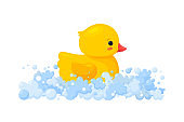 Rubber duck in soap foam with bubbles isolated in white background. Side view of yellow plastic duckling toy in suds. Vector illustration