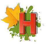 Autumn 3D pop art alphabet - colorful bold letter H