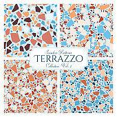 Terrazzo broken tile floor texture seamless patterns set