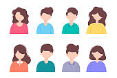 Flat people vector illustration set Character people male and female simple design.