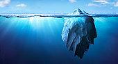 Iceberg - Underwater Danger - Global Warming Concept - 3d Rendering