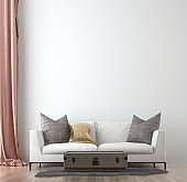 Minimal living room interior mock up, white sofa on empty white wall background, Scandinavian style, 3d render