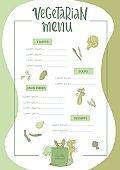 Vegetarian menu handwritten sign with outline green vegetables.