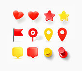 Navigation pins, hearts, speech bubbles isolated on white background