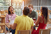 People sit in coffeeshop have fun and  enjoyed on talking