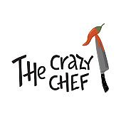 The crazy chef lettering sing with kitchen knife and hot chili pepper