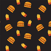 Burger and French fry seamless pattern on black background.