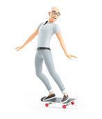 3d senior man doing skateboard