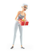 3d senior woman offering a gift