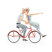 3d senior man and woman riding on bike together