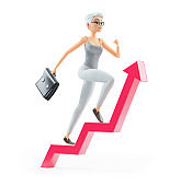 3d senior woman with briefcase running on growing arrow