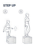 Step Up Exercise for Woman Home Workout Guide. Young Female in Sportswear Does the Escalation on Box