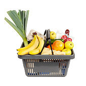 Grocery basket with food isolated on white background. Retail shopping