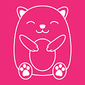 lines cute animal hamster cartoon logo vector icon illustration design