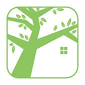 square tree with home green logo vector icon illustration design