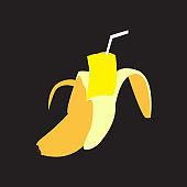 fruit banana cut drink logo design vector icon symbol illustration