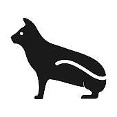 silhouette modern black cat shape logo vector icon illustration design