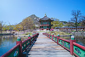 Gyeongbokgung Palace in spring, South Korea stock photo