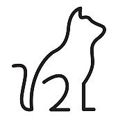 continuous lines cute cat sit logo vector icon illustration design