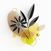 Abstract geometric background with leaves