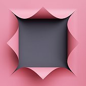 3d render. Abstract creative background with blank square frame. Pink paper with curled corners