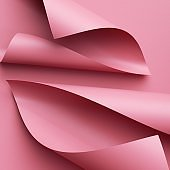 3d render. Abstract pink background with paper scrolls