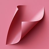 3d render, pink note paper with curled corners, page curl. Abstract creative background
