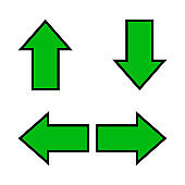 green arrow and diagonal arrow sign for map, arrow button for graphic game, arrow for direction