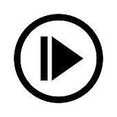 skip icon, step icon for media control and next, media control skip back symbol