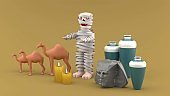 The mummy is surrounded by sculptures, jars, camels and candles on a brow background.Characters for Halloween.-3d rendering.