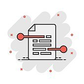 Vector cartoon document paper icon in comic style. Terms sheet concept illustration pictogram. Document analytics business splash effect concept.