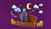 Dracula surrounded by coffins, bats and candles in the purple sky.Characters for Halloween.-3d rendering.