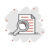 Scrutiny document plan icon in comic style. Review statement vector cartoon illustration pictogram. Document with magnifier loupe business concept splash effect.