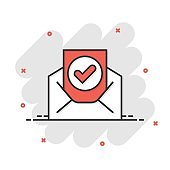 Envelope with confirmed document icon in comic style. Verify cartoon vector illustration on white isolated background. Receive splash effect business concept.
