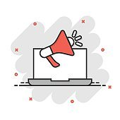 Laptop with megaphone speaker icon in comic style. Notebook bullhorn cartoon vector illustration on white isolated background. Computer subscribe splash effect business concept.