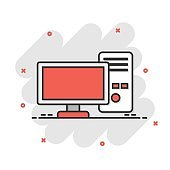 Pc computer icon in comic style. Desktop cartoon vector illustration on white isolated background. Device monitor splash effect business concept.