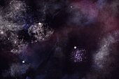 One off digitally created fantasy outer space galaxy scene with nebulas and star fields