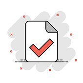 Document accepted icon in comic style. Correct cartoon vector illustration on white isolated background. Check message splash effect business concept.