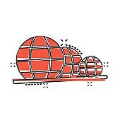 Earth planet icon in comic style. Globe geographic cartoon vector illustration on white isolated background. Global communication splash effect business concept.