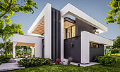 3d rendering of modern house in luxurious style in evening