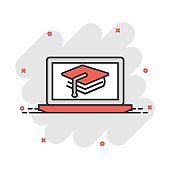 Elearning education icon in comic style. Study vector cartoon illustration pictogram. Laptop computer online training business concept splash effect.