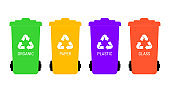 Separate garbage collection. Vector illustration