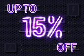 UP TO 15 percent OFF glowing purple neon lamp sign on a black electric wall