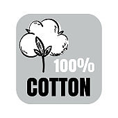 100% cotton vector sign with hand drawn cotton flower