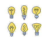 Set of hand drawn Light Bulbs. Collection of different yellow loft lamps in doodle style
