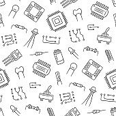 Seamless pattern from electrical components. Microchip, diode, transistor capacitor, resistor.