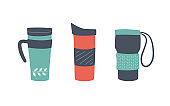 Reusable cups, thermo mug and tumblers with cover. Set of vector illustrations