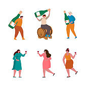 Vector illustration icon set with woman and man, wine glass and  wine bottle, grape wine in a wood barrel.