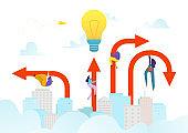 Business success arrow to goal achievement, vector illustration. People man woman character at career progress, leadership symbol.